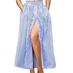 Striped Ankle Length, Button-Front Maxi Skirt